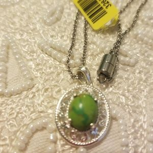 Mojave green turquoise sterling silver pendant wit